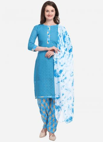 Regular Wear Sky Blue Printed Cotton Salwar Suit